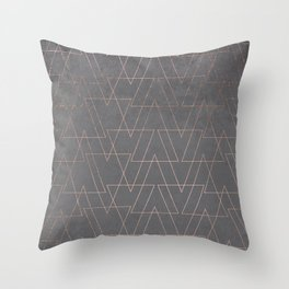 Modern rose gold geometric triangles blush pink abstract pattern on grey cement industrial Throw Pillow
