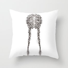Parted French Braids Throw Pillow