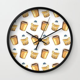 Coffee and Muffin Watercolor Pattern Wall Clock