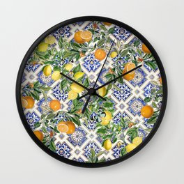 Bloomartgallery_Blue mediterranean citrus lemon orange pattern Wall Clock