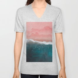 Turquoise Sea Pastel Beach II Unisex V-Neck