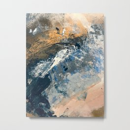 Wander [3]: a vibrant, colorful abstract in blues, pink, white, and gold Metal Print
