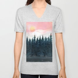 Forest Under the Sunset Unisex V-Neck
