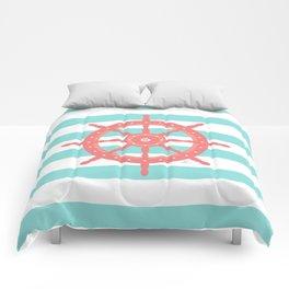 AFE Nautical Wheel  Coral & Seafoam Comforters