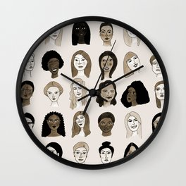 Women faces in sepia palette Wall Clock
