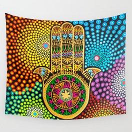 Hamsa Hand, hand of fatima, mandala, yoga art, mandala art, meditation art Wall Tapestry