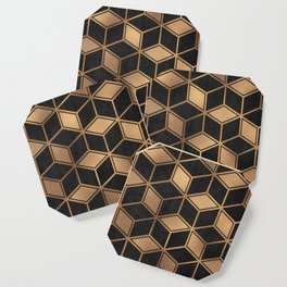 Charcoal and Gold - Geometric Textured Cube Design II Coaster