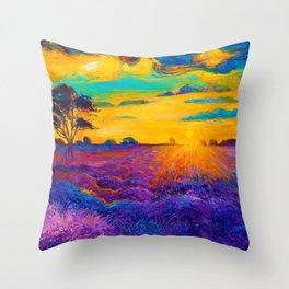 Florence Sunset Flower Field Throw Pillow