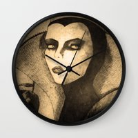 evil queen Wall Clocks featuring evil queen -snow white by Mathieu DeVille