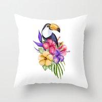 toucan Throw Pillows featuring Toucan by Julia Badeeva
