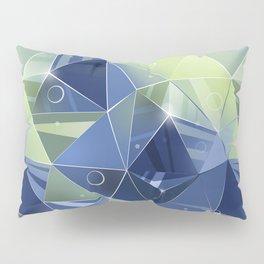 Polygonal pattern.Blue, green background. Pillow Sham