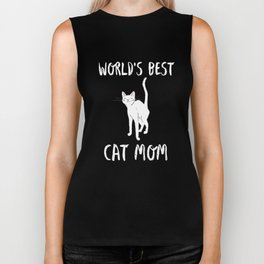 World's Best Cat Mom Cute Animal Typography Art Biker Tank