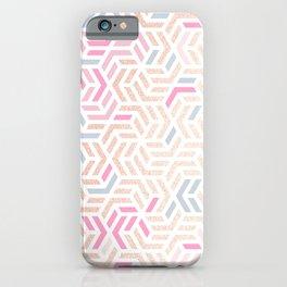 Pastel Deco Hexagon Pattern - Gold, pink & grey #pastelvibes #pattern #deco iPhone Case