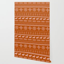 Scandinavian Christmas in Orange Wallpaper