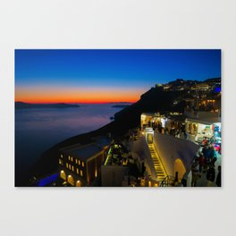 fira sunset-Santorini Canvas Print