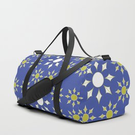 Gold, Blue and White 'Sun' Flower Textile Duffle Bag