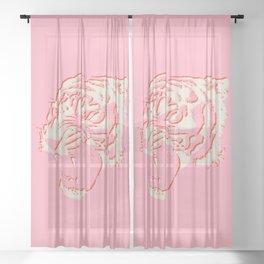 White Tiger Linocut Sheer Curtain