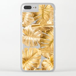 Gold Leaves Aloha Tropical Foliage Pattern Clear iPhone Case