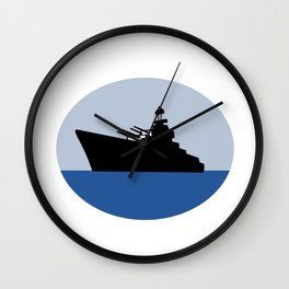 World War Two Battleship Destroyer Oval Retro Wall Clock