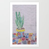 cactus Art Prints featuring Cactus by Rabbits In The Sky