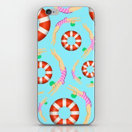Summer Swimmers in Pink on Blue   Floats   Life Savers   pulps of wood iPhone Skin
