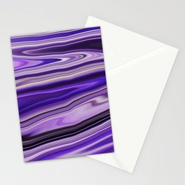 Purple Waves Abstract Art, Digital Fluid Art Ripples Blend Stationery Cards