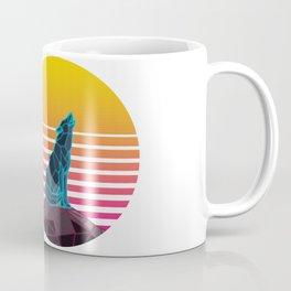 Geometric neon retro synthwave wolf Coffee Mug