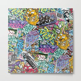 PAGER Collage Royal Stain Metal Print