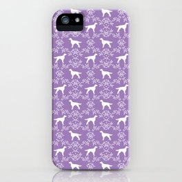 Irish Setter floral dog breed silhouette minimal pattern purple and white dogs silhouettes iPhone Case