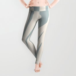 Maldives Abstract Botanical Pattern in Light Blue-Gray and Cream Leggings