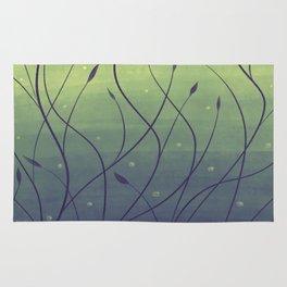 Purple Algae Plants In Green Water Rug