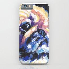 Fun Pekingese Dog Portrait bright colorful Pop Art iPhone Case