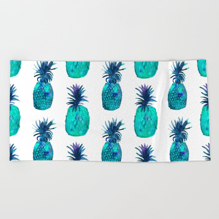 Mint pineapples || watercolor Beach Towel