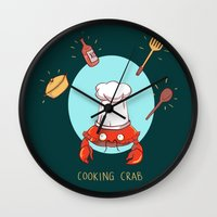cooking Wall Clocks featuring Cooking Crab by Schewy