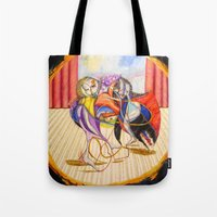 theatre Tote Bags featuring Theatre by Vargamari
