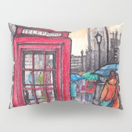 Rainy day in London ink & watercolor illustration Pillow Sham