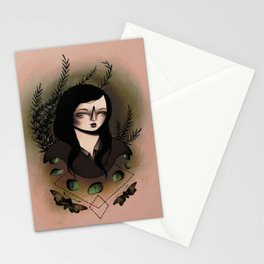 Girl With Moths Stationery Cards