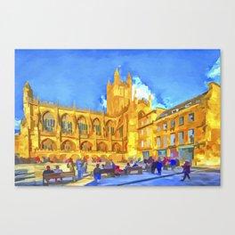 Bath Abbey Pop Art Canvas Print