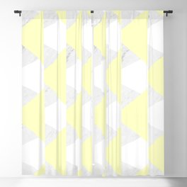 Yellow White Marble Triangles Blackout Curtain