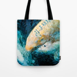 Koi Closeups #2 - Surfacing with Bubbles Tote Bag
