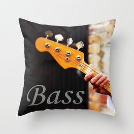 Bass Guitar neck , musical instrument  Throw Pillow