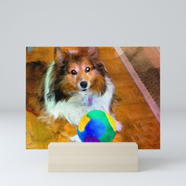 Sheltie with Ball Mini Art Print