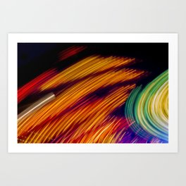 Traces of colored lights Art Print