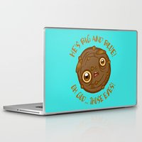 cookie monster Laptop & iPad Skins featuring Terrified Cookie by Artistic Dyslexia