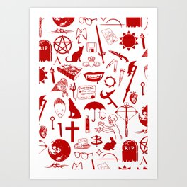 Buffy Symbology, Red Art Print