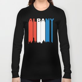 Red White And Blue Albany New York Skyline Long Sleeve T-shirt