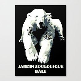 Vintage vector Zoo ad Basel polar bear Canvas Print