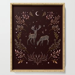 Deers in the Moonlight - Chocolate Brown Serving Tray