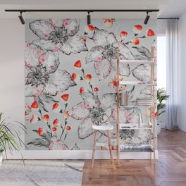 Red And Grey Floral Pattern Wall Mural
