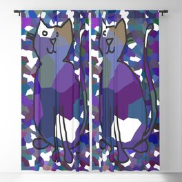 Crystal Cat - Blue Blackout Curtain